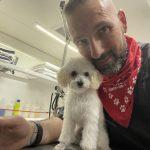 Dog with groomer